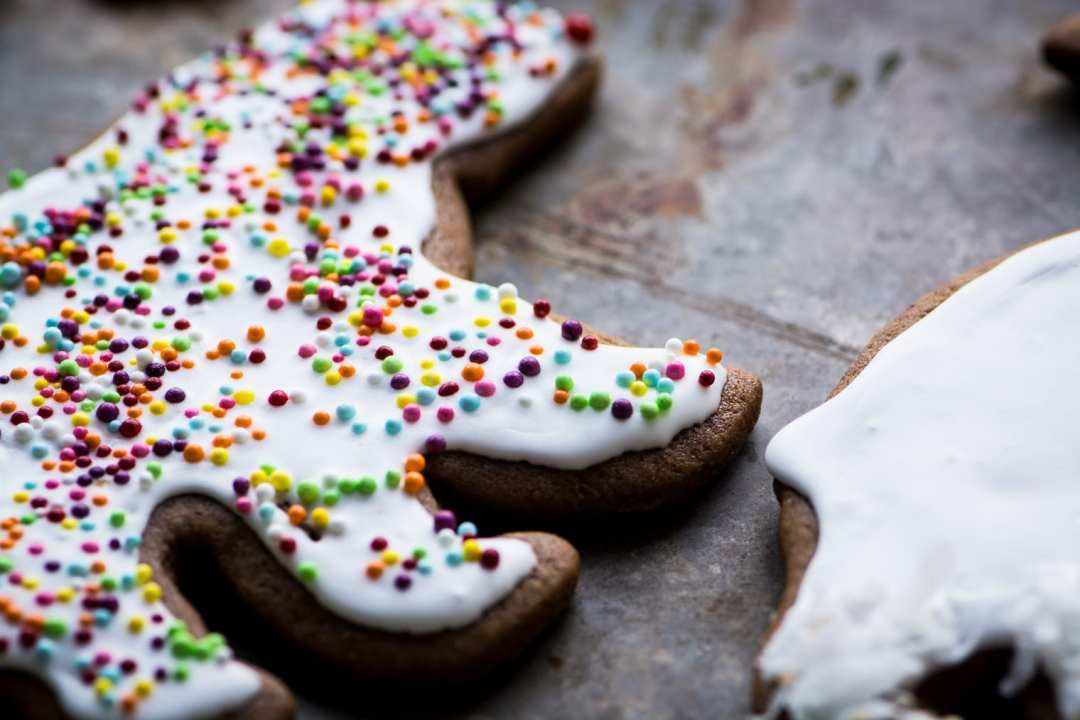 Gingerbread polar bear with icing and sprinkles