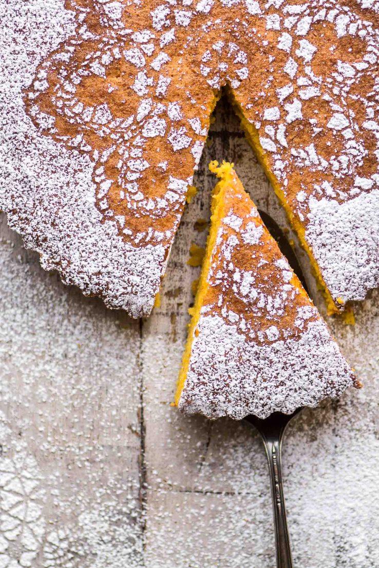 Flourless Tangerine Cake being sliced