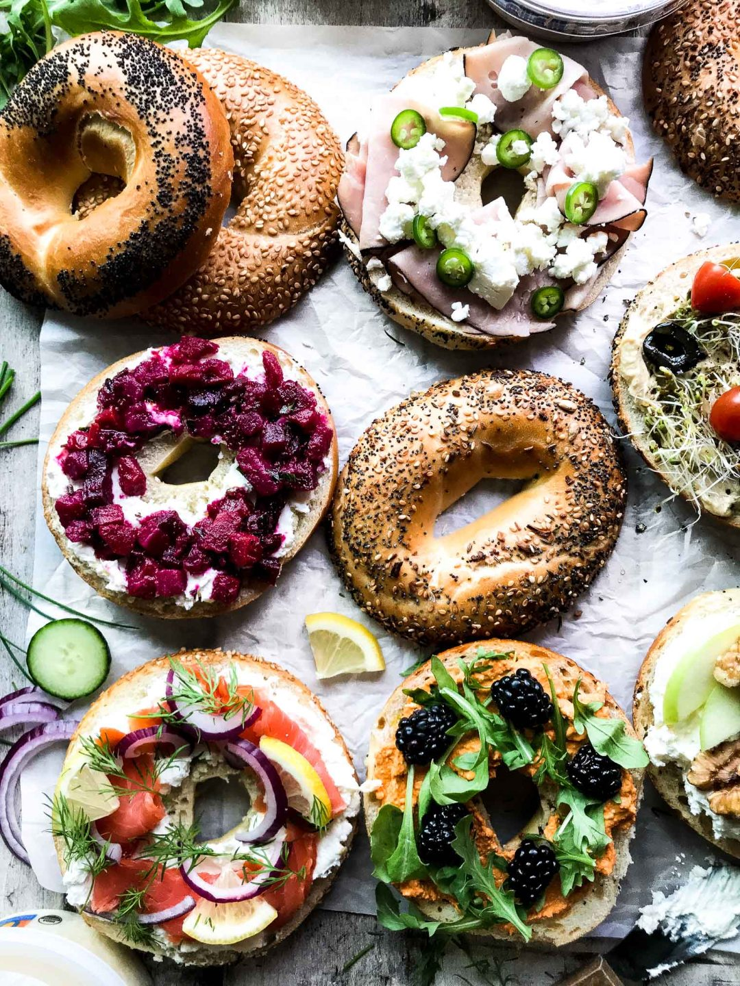Irresistible Bagel Toast (your new favorite snack!) Bagels topped with colorful toppings