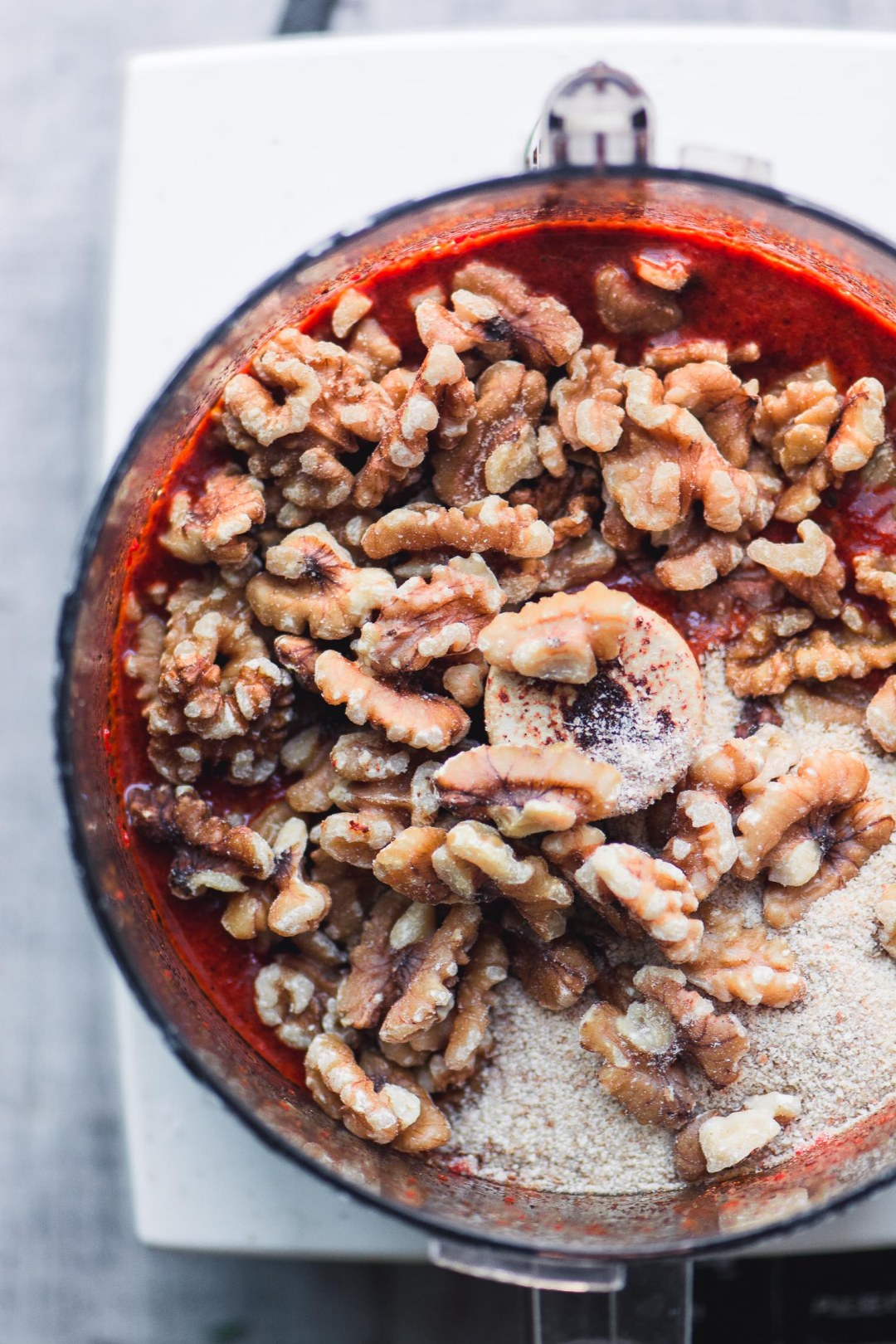 Making Syrian Muhammara roasted red pepper dip