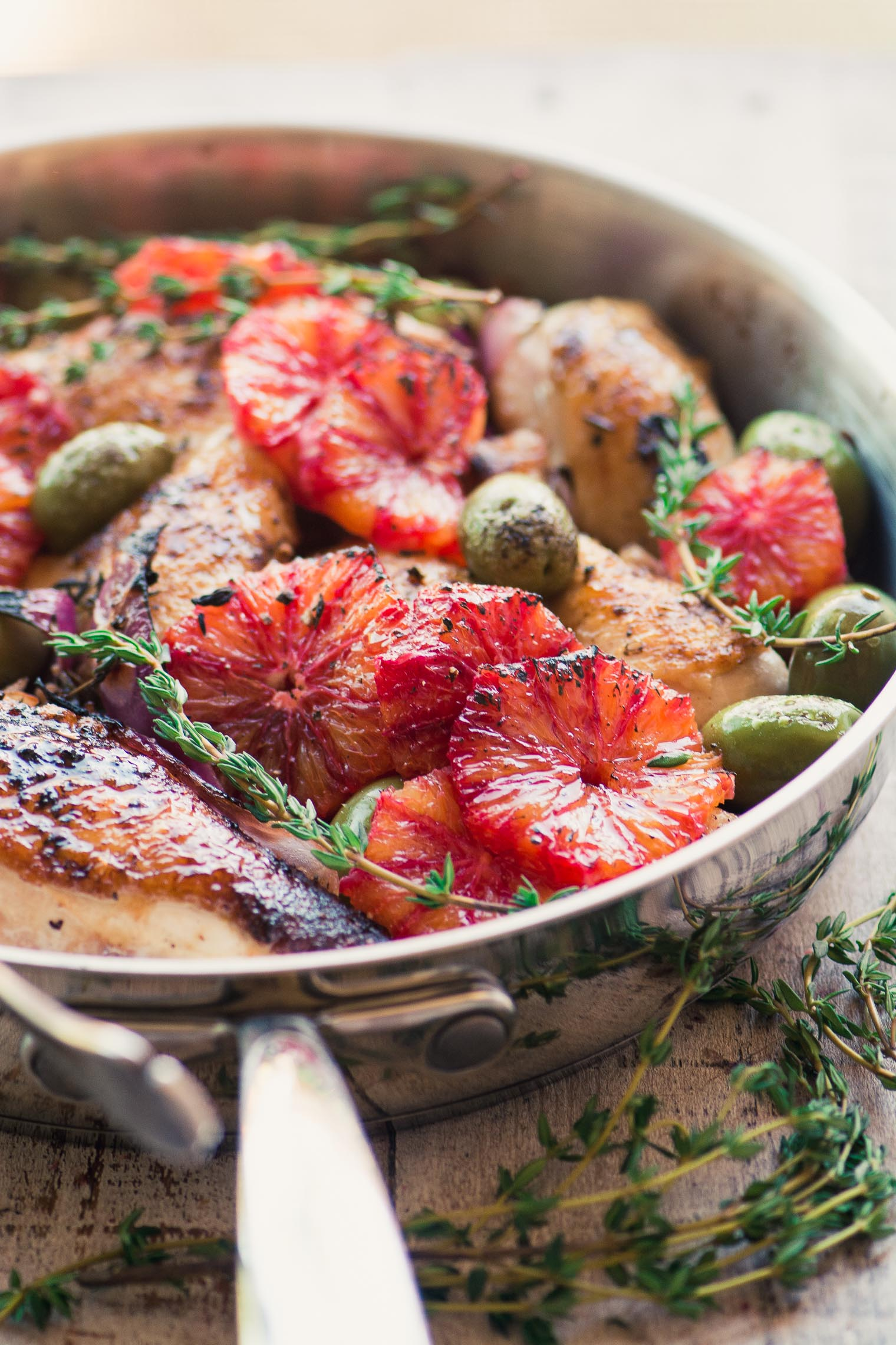 Chicken with Blood Orange and Olives