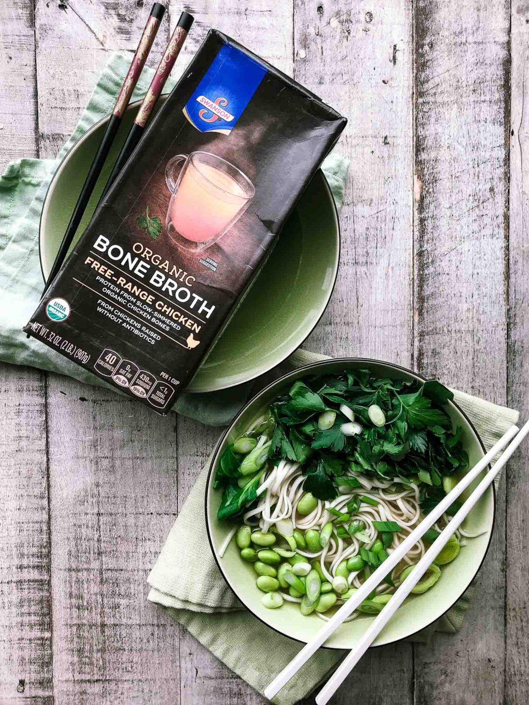 Healthy Bone Broth Noodle Bowl with Herbs image