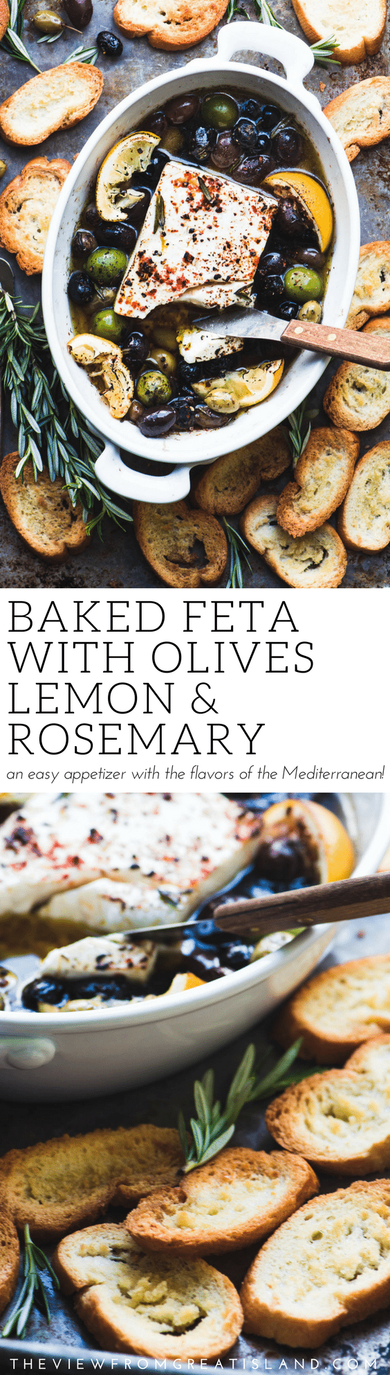 Baked Feta Cheese with Olives and Lemon ~ an easy baked cheese appetizer that shows off the spectacular sun drenched flavors of the Mediterranean. Serve it with some toasted bread and watch it disappear! #cheese #bakedcheese #feta #sheepsmilkcheese #hotappetizer #appetizer #easyappetizer #olives #roastedolives #healthy #mediterranean #rosemary #Greek #mezze #tapas #partyappetizer