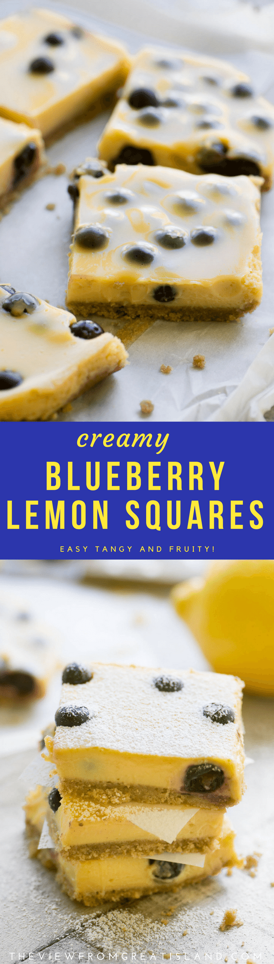Blueberry Lemon Bars ~ this easy lemon bar recipe is a perfect quick spring and summer dessert ~ serve them chilled right from the fridge! #lemonbar #dessert #lemon #easydessert #blueberries #blueberrylemon #easydessert #lemonsquares #lemoncurd #blueberrydessert