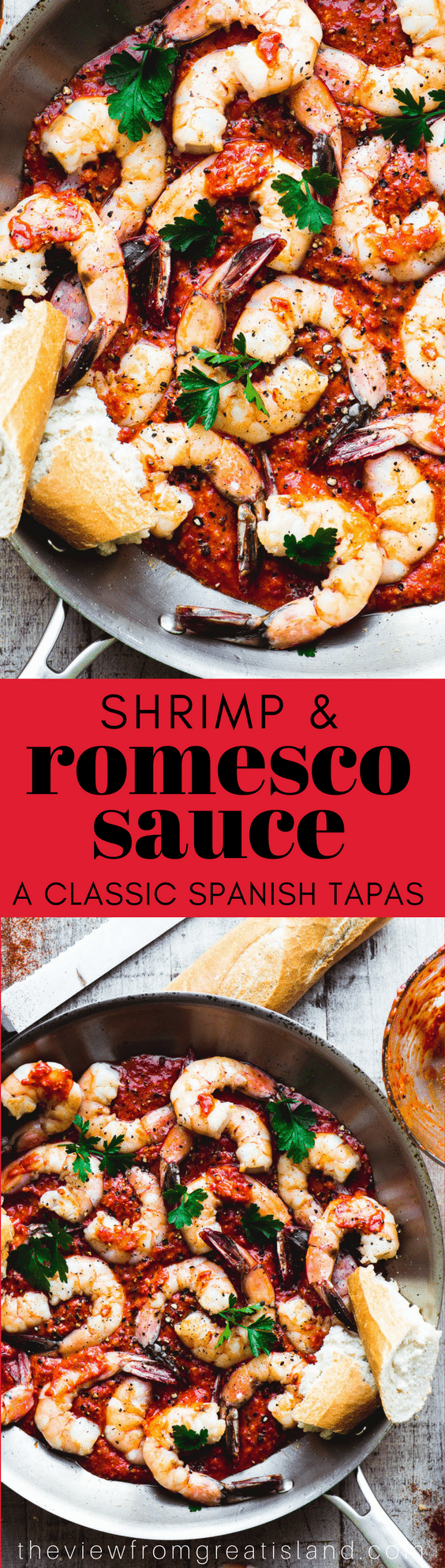 Shrimp in Romesco Sauce ~ serve this vivid grilled shrimp and spicy roasted red pepper sauce with some crusty bread for a Spanish style tapas menu. This is a wonderful way to celebrate the return of warmer weather. #appetizer #shrimp #spanishrecipe #romescosauce #fish #shellfish #dip #spread #tapas #mezze #mediterranean #healthy #glutenfree #paleo #whole30 #bellpeppers #lowfat #Mediterraneandiet #southbeachdiet #paleo #weightwatchers #whole30 #almonds