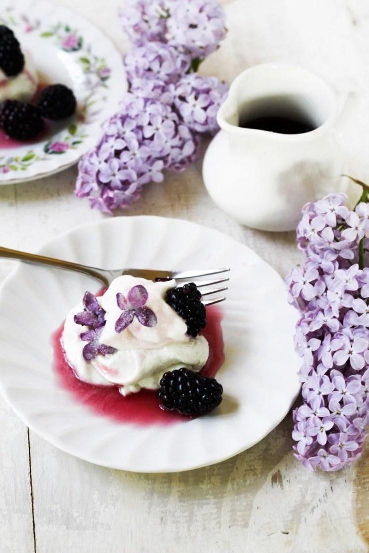 Lilac and blackberry pavlovas