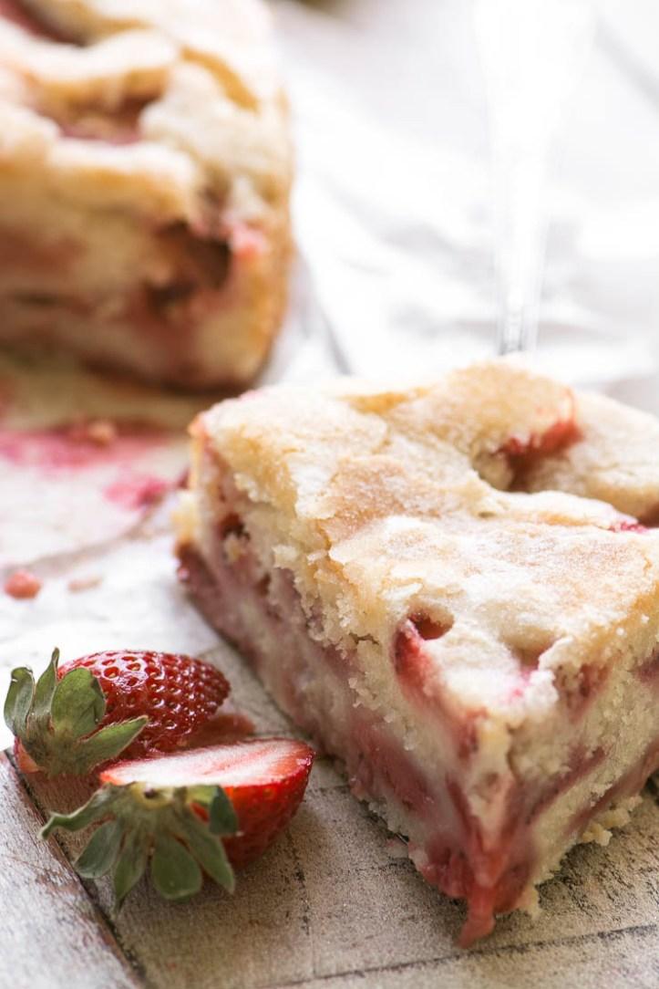 A slice of Buttermilk Strawberry Cake
