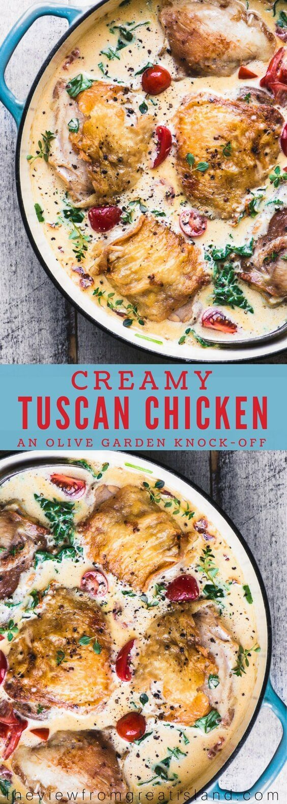 Creamy Tuscan Chicken Thighs is a 30 minute meal that the whole family goes crazy for! #dinner #easydinner #chicken #chickenthighs #30minutemeal #olivegarden #copycat #recipe