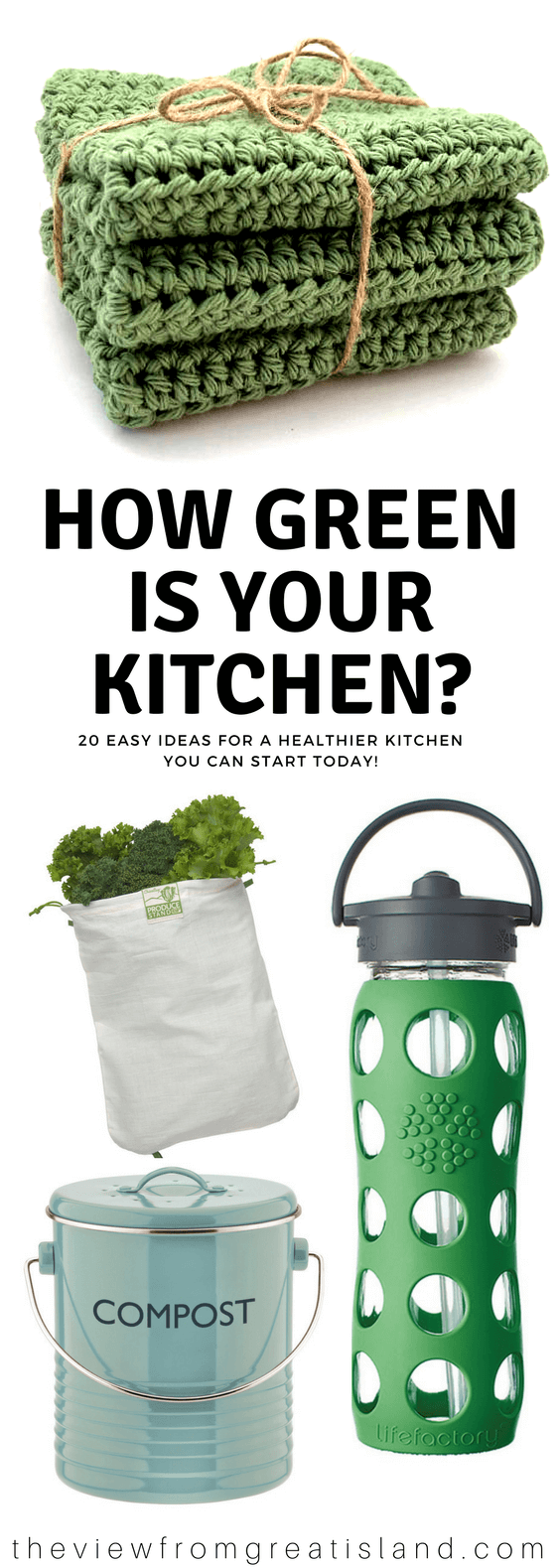 It's Earth Day ~ and a great time to take stock ~ do you run an environmentally friendly, sustainable, healthy kitchen? Are you making the best choices for your family and our planet? Here are 20 easy steps to a greener kitchen this year. #reusuablebowlcovers #unpapertowel #composting #diydishsoap #diycleaners #clothproducebags #glasswaterbottles #reusablebaggies #clothgrocerybag #beeswrap #knitteddishcloths #earthday #greenkitchen