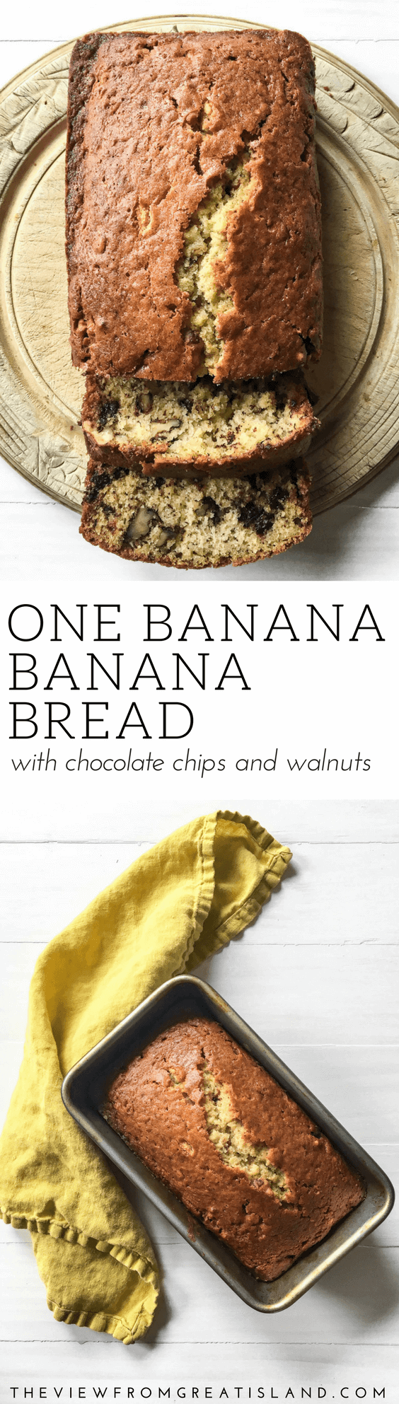 One Banana Banana Bread with Chocolate Chips and Walnuts ~ when there's just one banana left on the counter, this one-banana, one-bowl quick bread recipe steps up to the plate. #bananas #bananabread #chocolatechipbananabread #quickbread #loafcake #bananacake #cake #breakfast #brunch