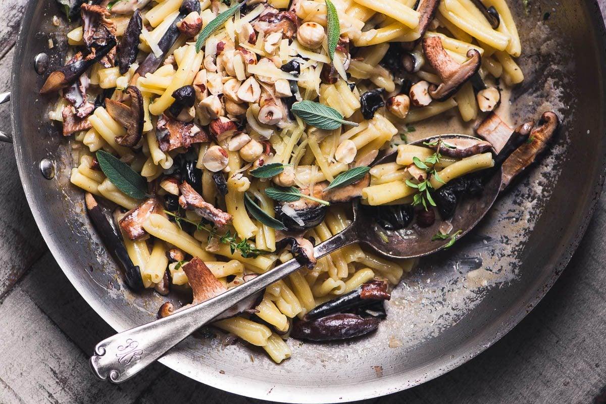 Pasta with Wild Mushrooms and Hazelnuts & Gruyere