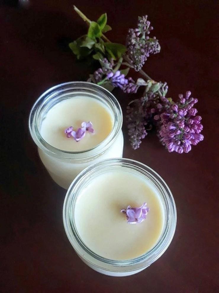 Lilac honey posset