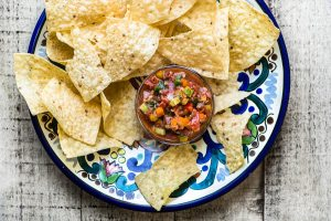A plate of Better than Restaurant Salsa and chips