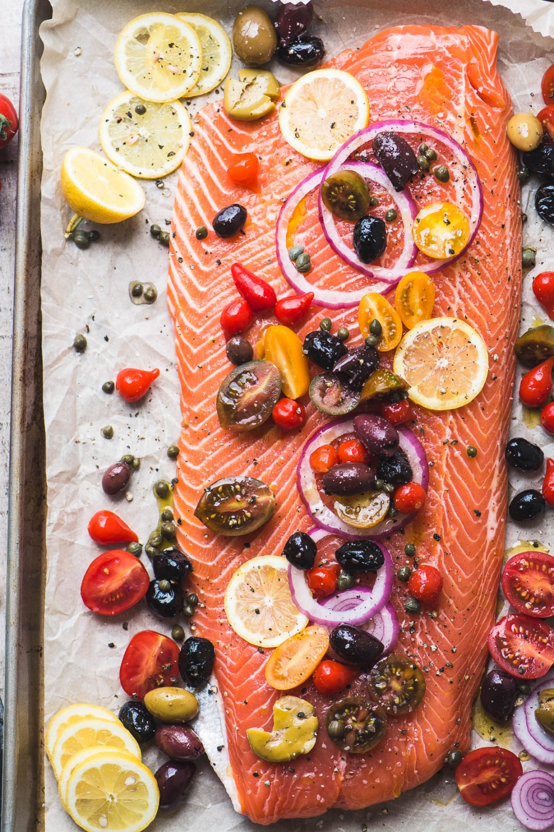 Mediterranean Roasted Sheet Pan Salmon ready for the oven
