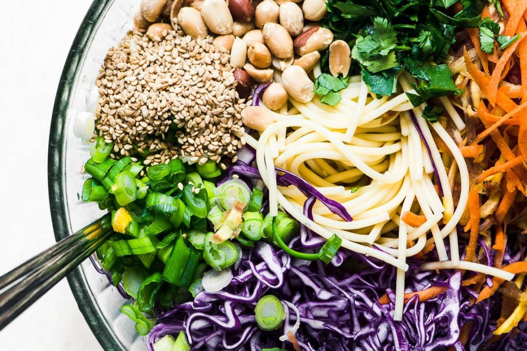 Ingredients for Spicy Thai Spaghetti Salad in a bowl