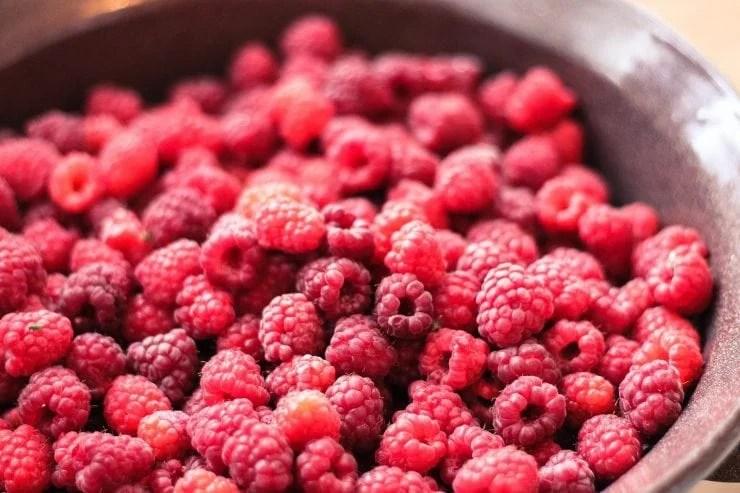 wild raspberries in a bowl