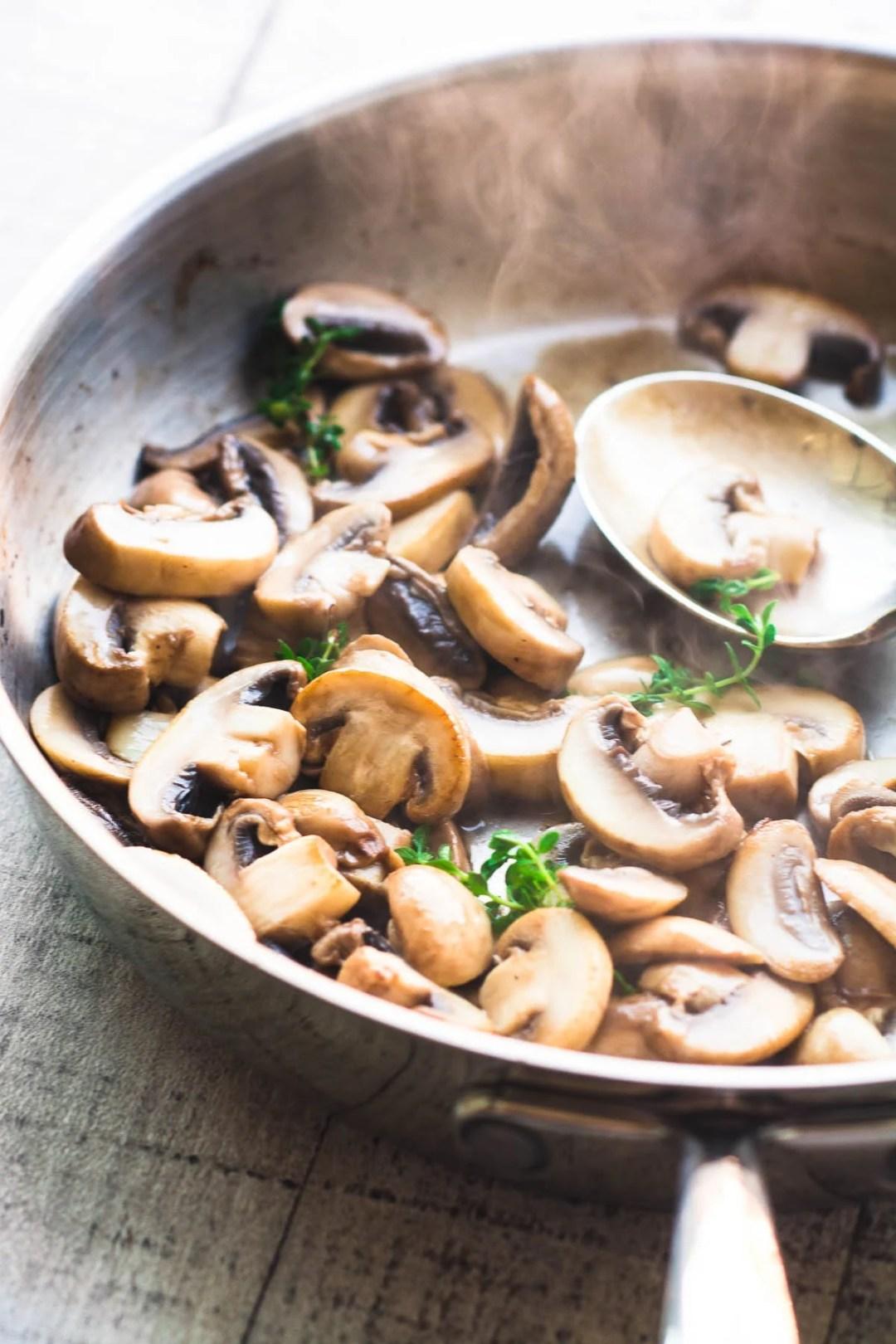 sautéing mushrooms for Instant Pot pork chops with creamy mushroom sauce