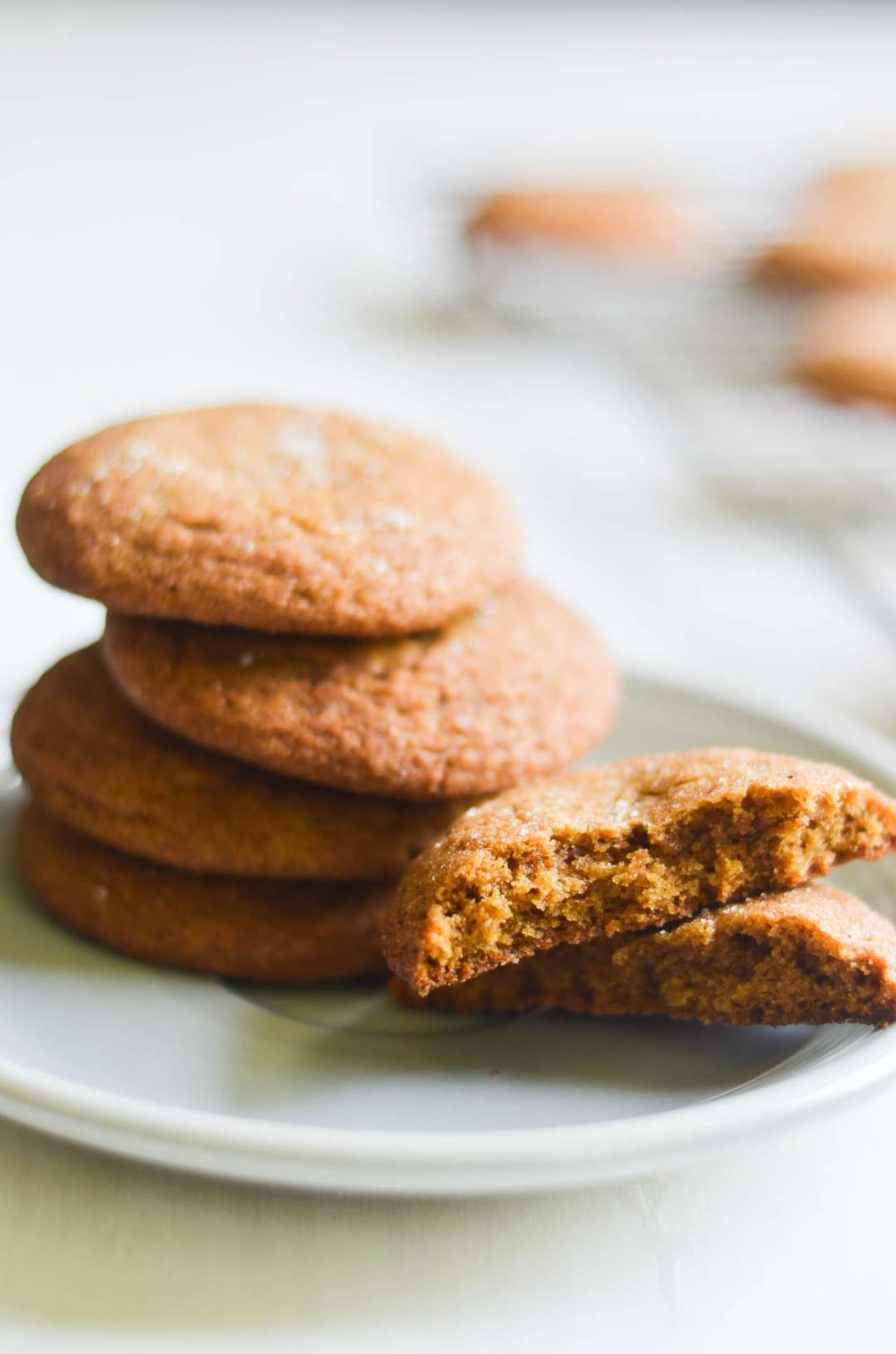 Gingerbread Snickerdoodles on a white plate