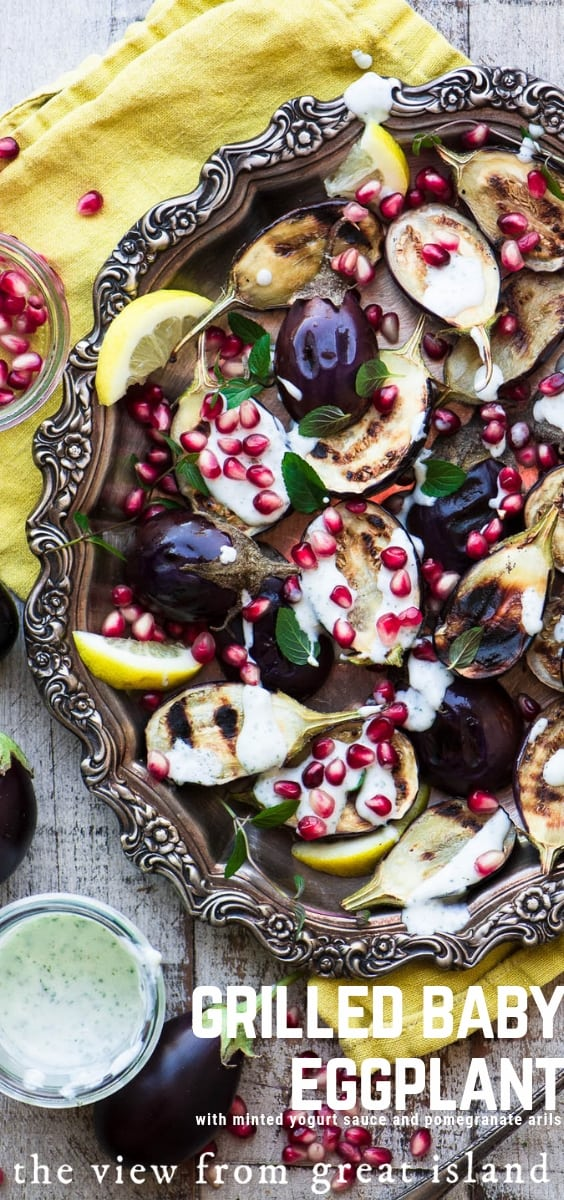 Grilled Baby Eggplant with Minted Yogurt and Pomegranate ~ a simple and healthy Middle Eastern inspired side dish or appetizer ~ #appetizer #sidedish #MiddleEastern #eggplant #vegetarian #healthy #recipe #mezze #holiday #pomegranate
