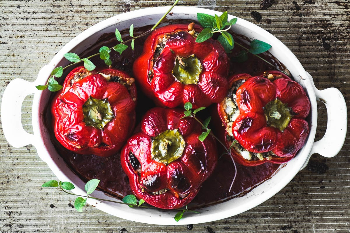 Spiced Lamb and Couscous Stuffed Red Peppers