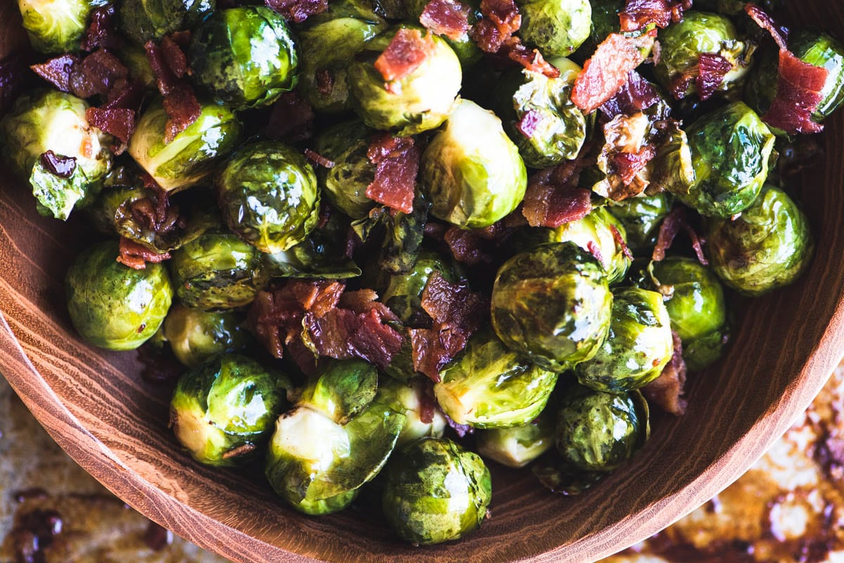 Maple Candied Brussels Sprouts with Bacon
