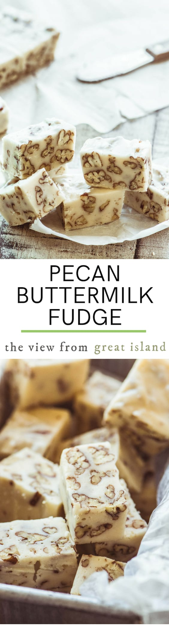 Pecan Buttermilk Fudge ~ this creamy white fudge has got a sweet tangy flavor like nothing else I've ever tasted. #candy #fudge #homemade #easy #recipe #foodgift #dessert #buttermilk #white #pecans #fromscratch