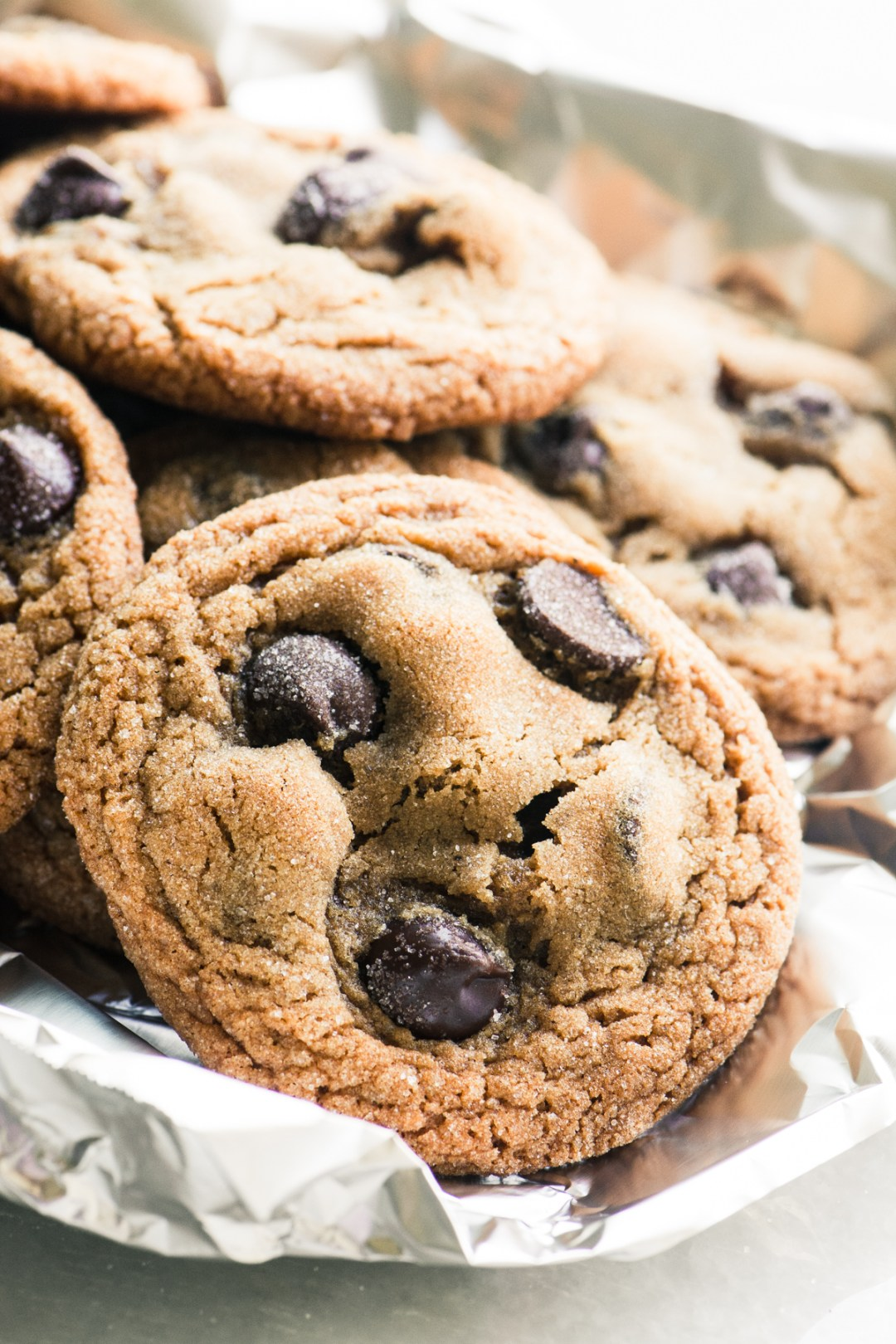 chewy chocolate chip cookies wrapped in foil