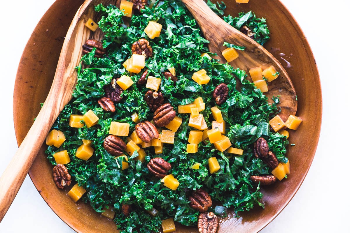 Kale and Butternut Salad with Maple Spiced Pecans