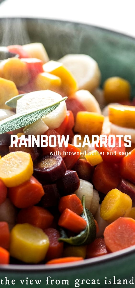 Rainbow Carrots with Browned Butter and Sage is an easy way to add a healthy pop of color to your weekday meals or your Thanksgiving table.  #carrots #rainbow #easy #recipe #Thanksgiving #sidedish #vegetarian #fall #healthy #vegetarian