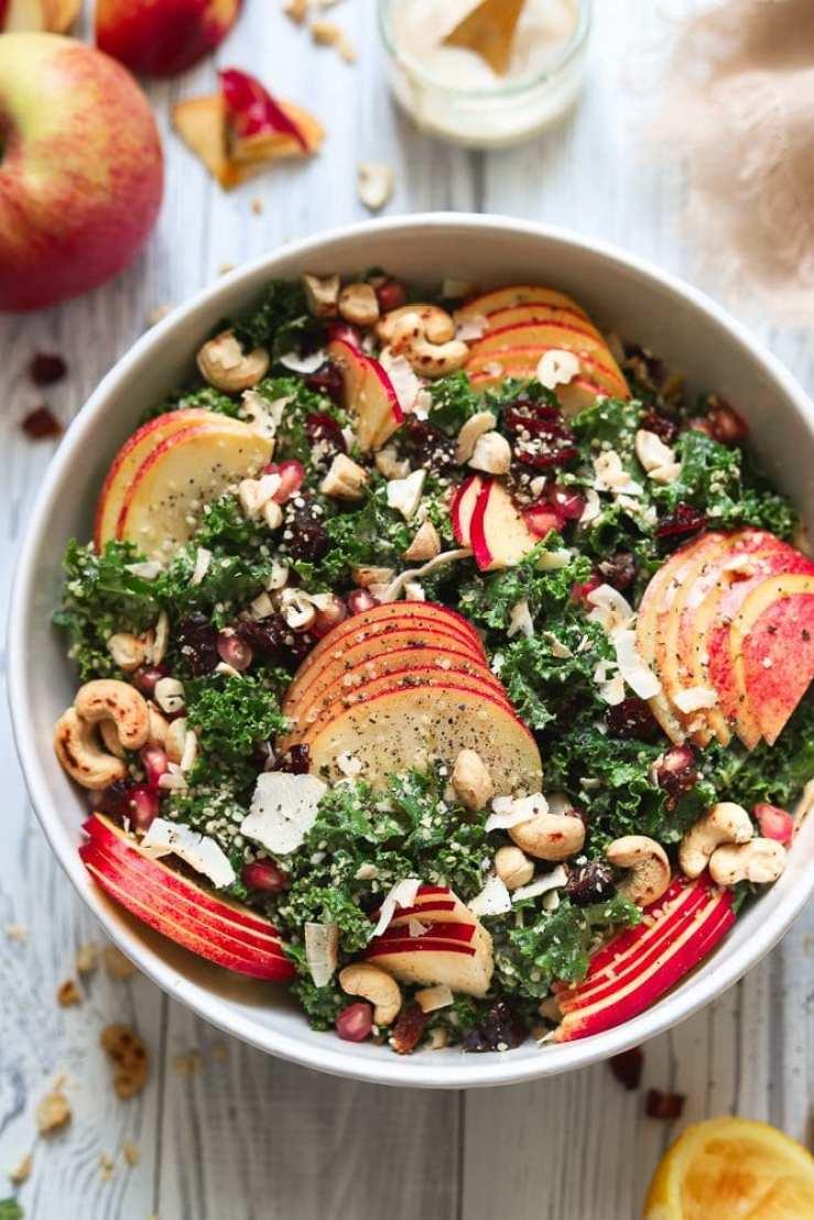 Harvest Kale Salad with sliced apples