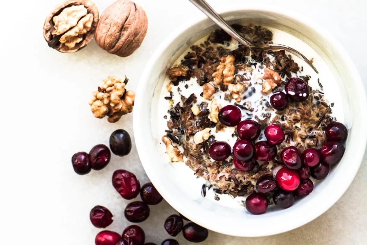 Cranberry Walnut Wild Rice Porridge