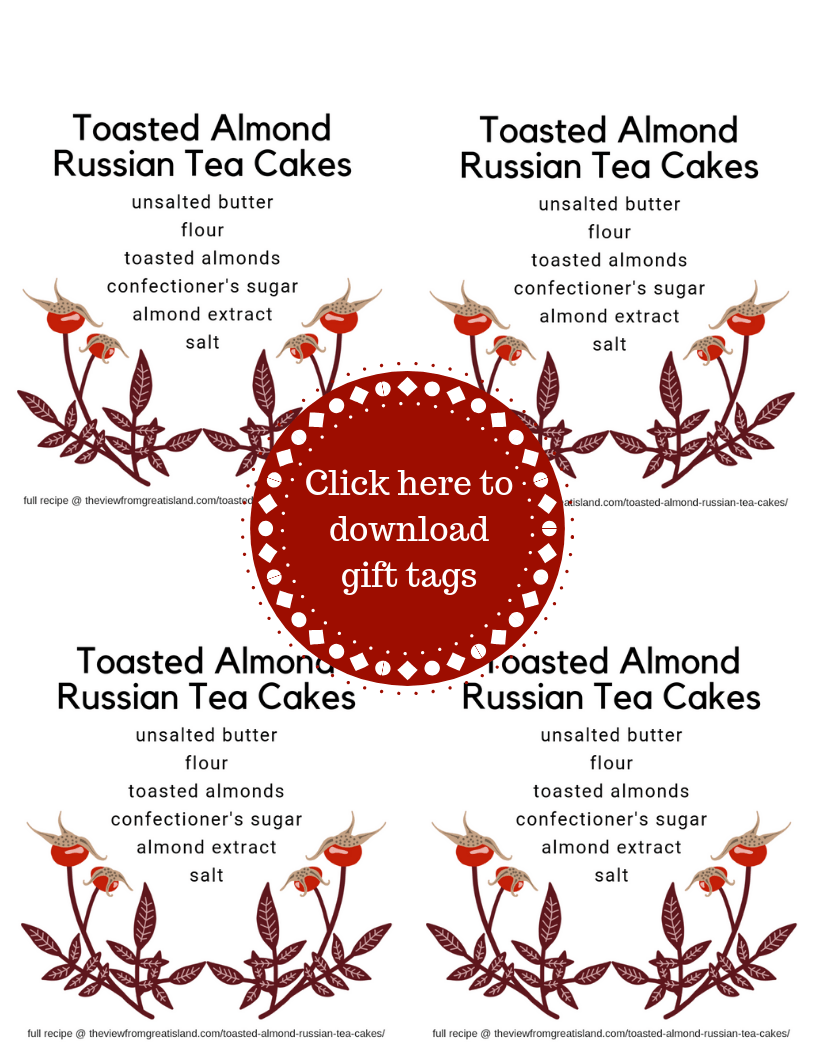 Russian tea cake cookie gift tags