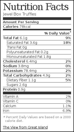 Nutrition label for Jewel Box Truffles