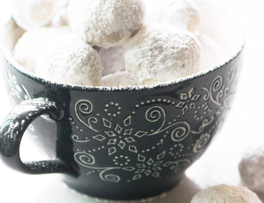 Toasted Almond Russian Tea Cakes in a mug