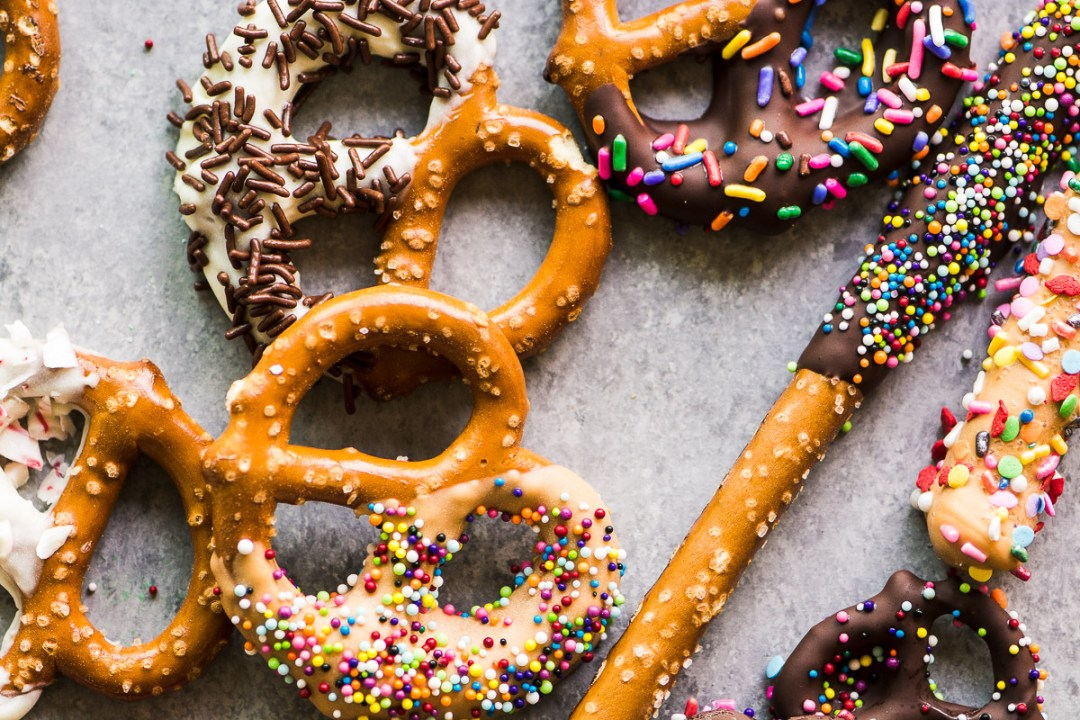 Chocolate Dipped Pretzels with sprinkles