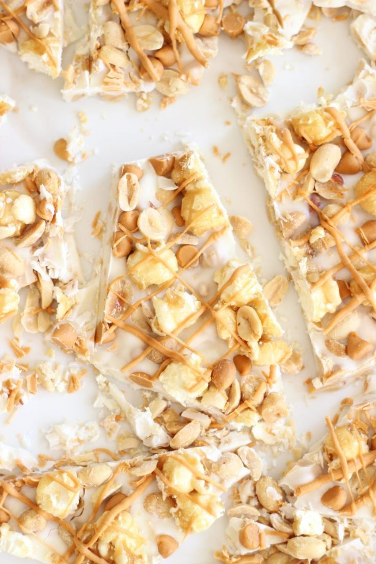 White Chocolate Bark with salted peanuts