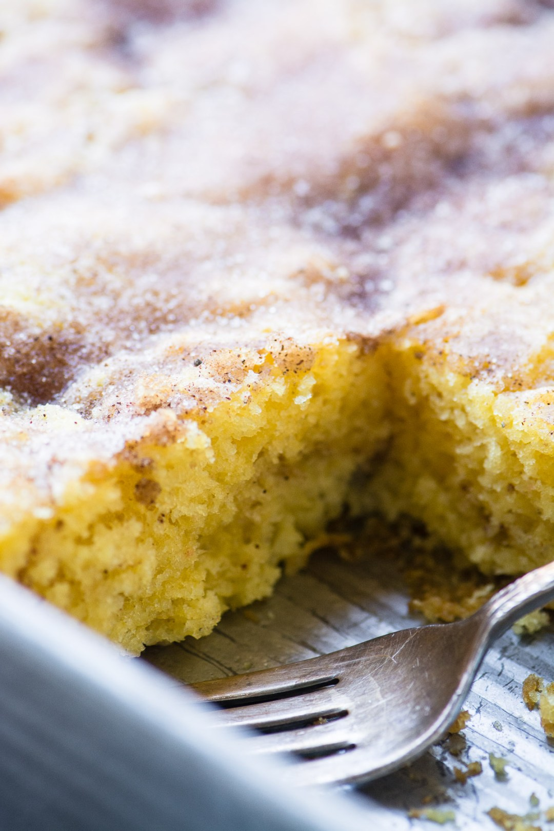 Easy Cinnamon Coffee Cake in a pan with fork