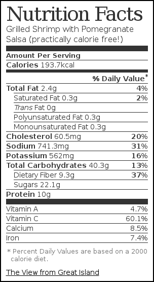 Nutrition label for Grilled Shrimp with Pomegranate Salsa (practically calorie free!)