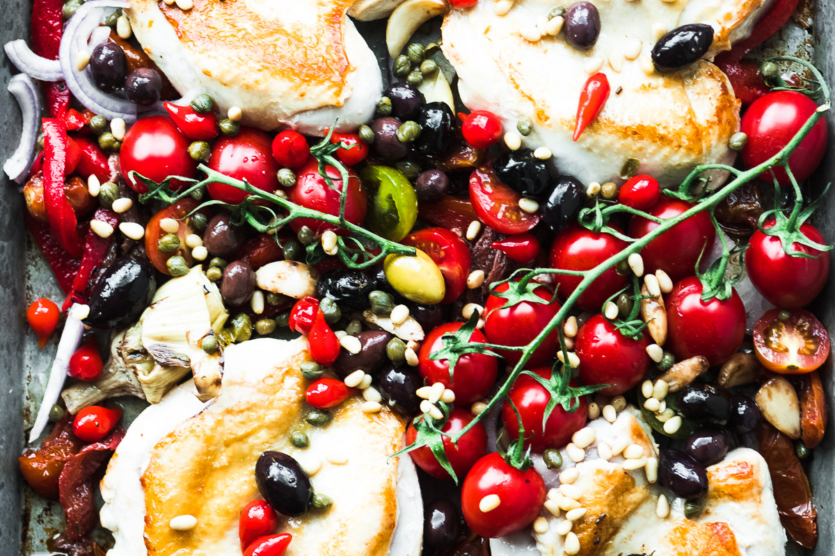 Sheet Pan Chicken Puttanesca