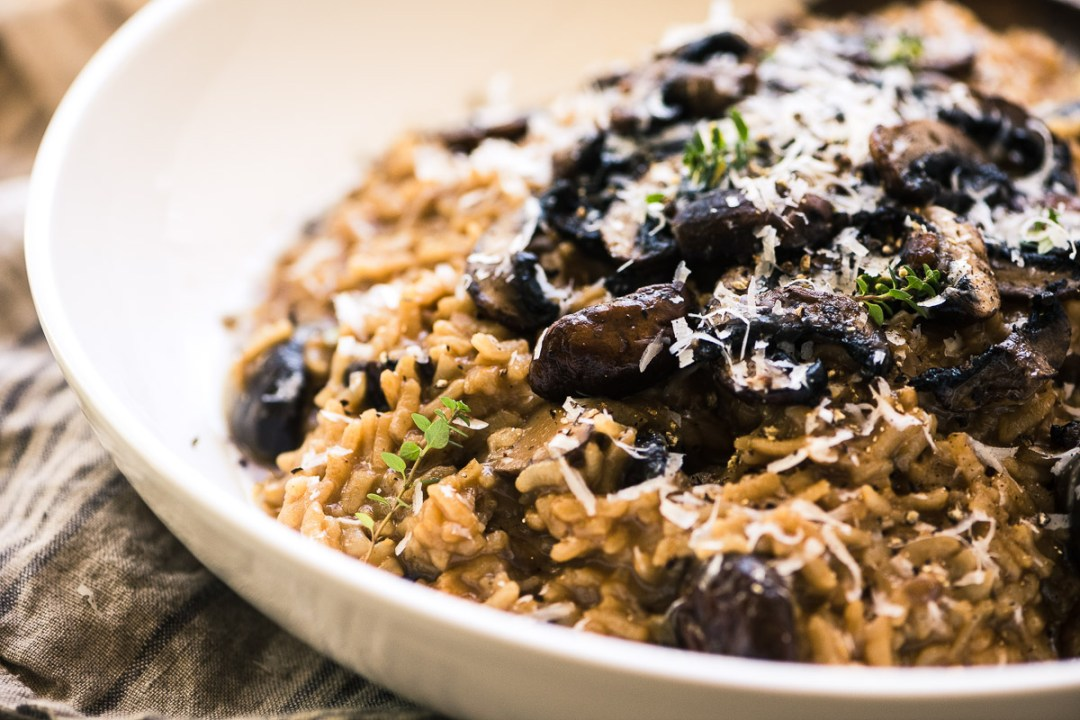 Instant Pot Wild Mushroom Risotto in a white bowl 2
