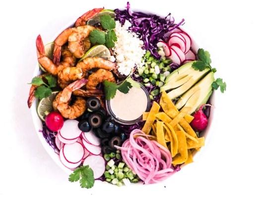 Shrimp Taco Salad in a white bowl