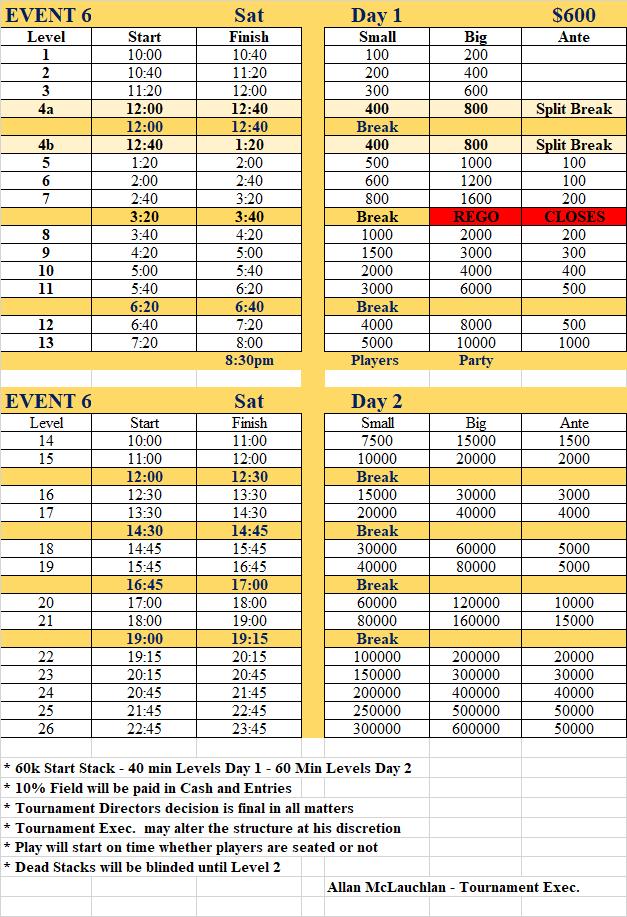 event 6 schedule