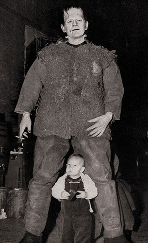 Karloff in costume for Son of Frankenstein, with Lugosi, Jr.