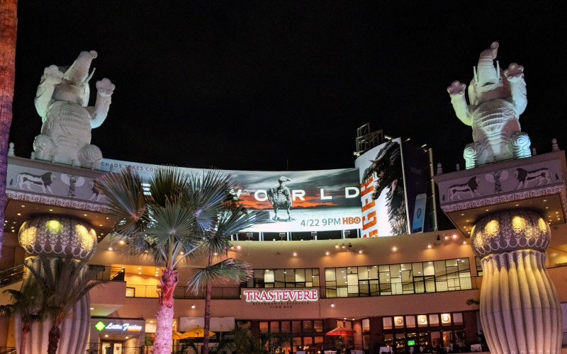 Hollywood and Highland mall at night with neon lights