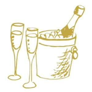 champagne in ice bucket with two glasses