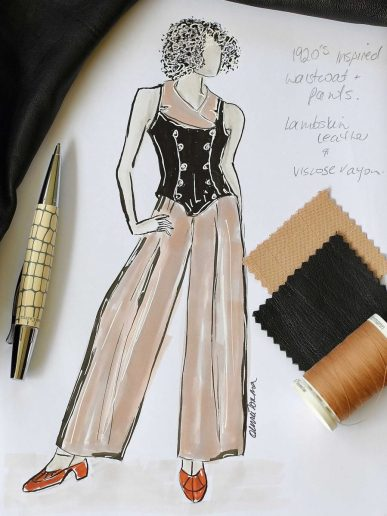 Vintage Inspired Waistcoat Illustration by The Vintage Couturiere