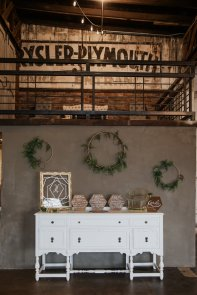 White buffet, wood chalk signs