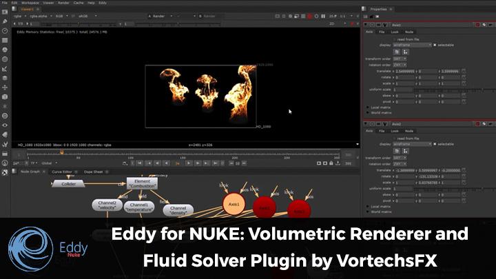 Eddy for NUKE fluid solver volumetric renderer vortechsFX