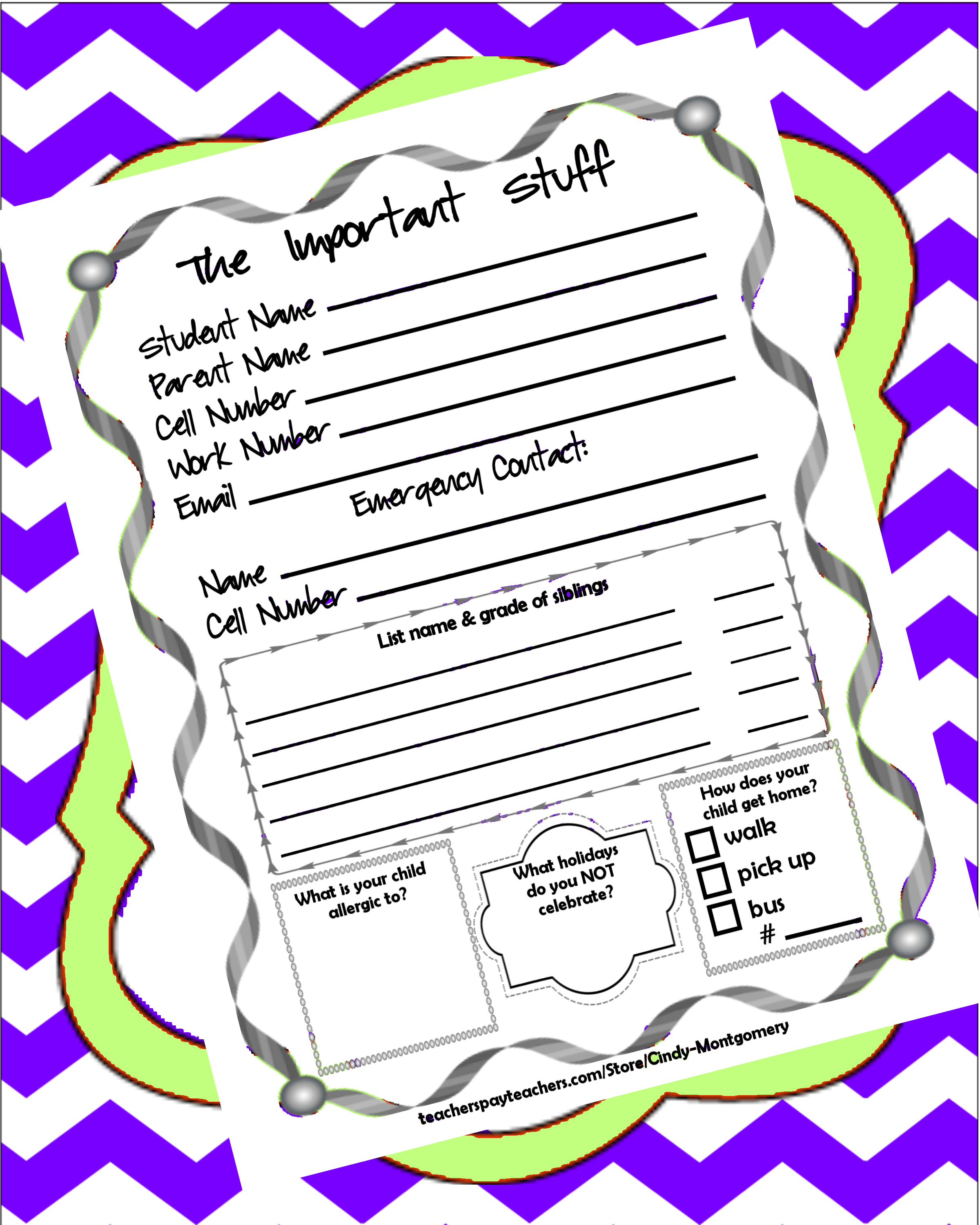 Student Information Sheet Follower Freebie Every Day Is The Weekend
