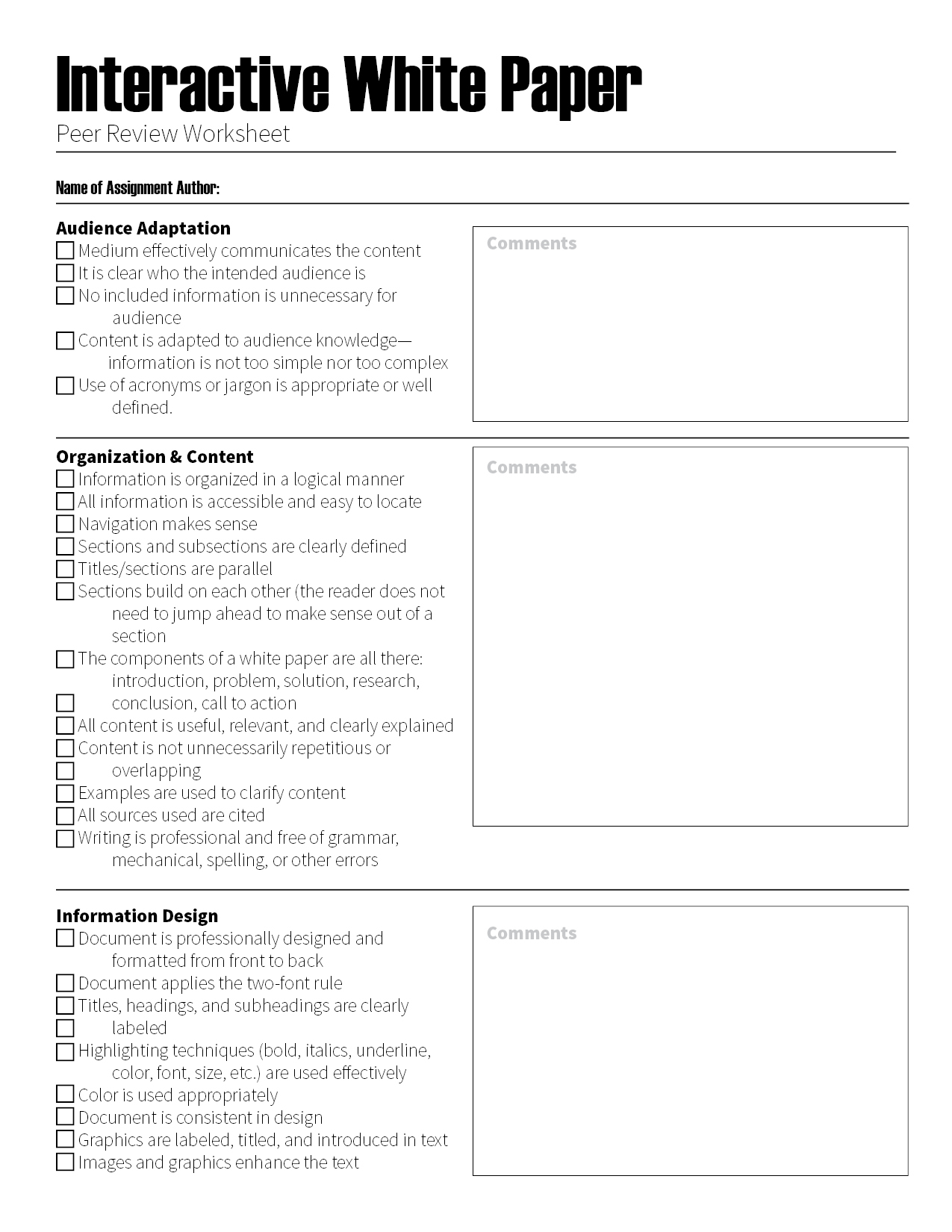 Downloads For Teachers Checklists And Peer Reviews The Visual Communication Guy Designing